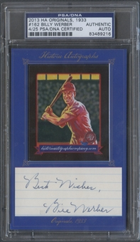 2013 Historic Autograph 1933 #162 Billy Werber Cut Auto #04/25 PSA DNA