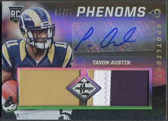 2013 Limited #235 Tavon Austin Gold Spotlight Rookie Patch Auto #01/25