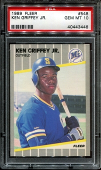 1989 Fleer Baseball #548 Ken Griffey Jr. Rookie PSA 10 (GEM MT) *3448