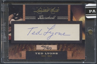 2011 Donruss Limited Cuts #309 Ted Lyons Cut Auto #40/49