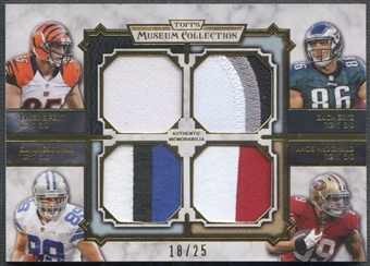 2013 Topps Museum Collection Tyler Eifert Gavin Escobar Vance McDonald Zach Ertz Rookie Quad Patch #18/25