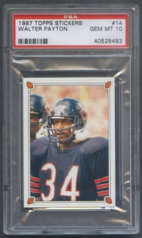 1987 Topps Stickers Football #14 Walter Payton PSA 10 (GEM MT) *5493