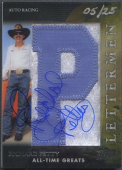 "2012 Upper Deck All-Time Greats #LRP Richard Petty Letterman ""P"" Patch Auto #05/25"