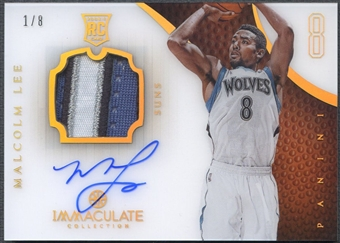 2012/13 Immaculate Collection #129 Malcolm Lee Rookie Numbers Parallel Patch Auto #1/8