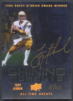 2012 Upper Deck All-Time Greats #SMTA3 Troy Aikman Shining Moments Auto #05/10