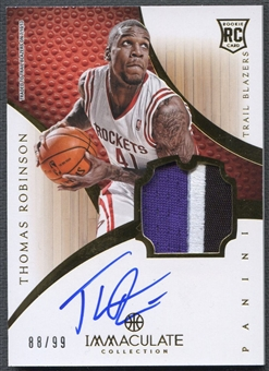 2012/13 Immaculate Collection #138 Thomas Robinson Rookie Jersey Auto #88/99