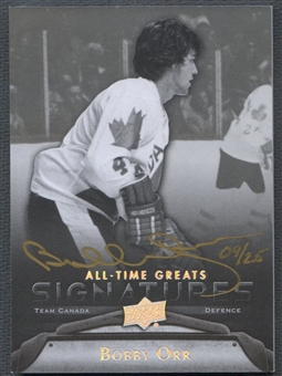 2012 Upper Deck All-Time Greats #GABO2 Bobby Orr Signatures Silver Auto #09/25