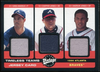2002 Upper Deck Vintage Timeless Teams Game Jersey Combos #ATL Greg Maddux Chipper Jones Andruw Jones