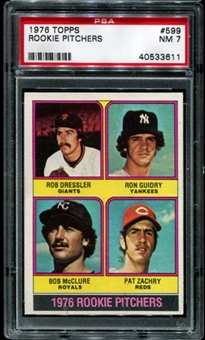 1976 Topps Baseball #599 Ron Guidry Rookie PSA 7 (NM) *3611