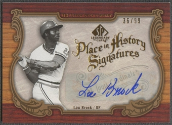 2006 SP Legendary Cuts #LB Lou Brock Place in History Auto #36/99