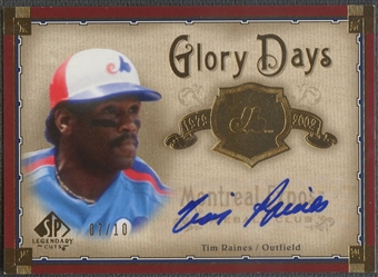 2005 SP Legendary Cuts #TR Tim Raines Glory Days Gold Auto #07/10