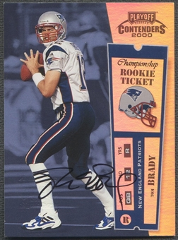2000 Playoff Contenders #144 Tom Brady Championship Ticket Rookie Auto #061/100