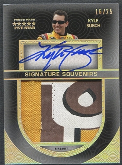 2014 Press Pass Five Star #SSKYB Kyle Busch Signature Souvenirs Holofoil Firesuit Auto #16/25