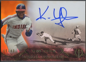 2014 Topps Tribute #TTKL Kenny Lofton Tribute Traditions Orange Auto #15/40