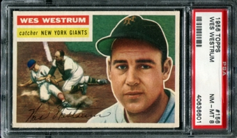 1956 Topps Baseball #156 Wes Westrum PSA 8 (NM-MT) *6601