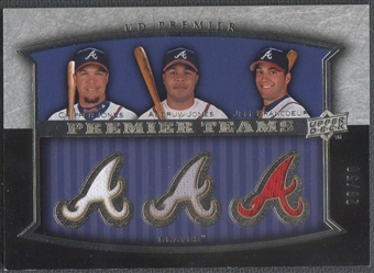 2008 Upper Deck Premier #JJF Chipper Jones Andruw Jones Jeff Francoeur Teams Memorabilia Jersey #26/50
