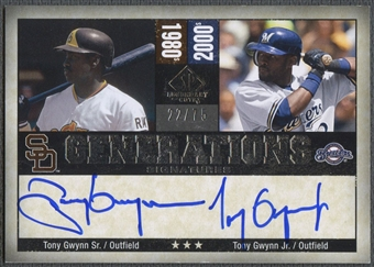 2008 SP Legendary Cuts #GG Tony Gwynn & Tony Gwynn Jr. Generations Dual Auto #22/75