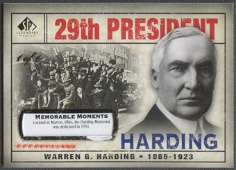 2008 SP Legendary Cuts #143 Warren G. Harding Memorable Moments #1/1