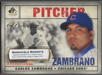 2008 SP Legendary Cuts #54 Carlos Zambrano Memorable Moments #1/1