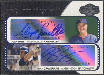 2008 Topps Co-Signers #SZ Alex Smith & Ryan Zimmerman Dual Auto
