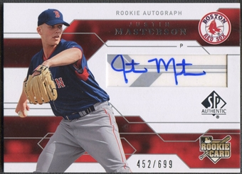 2008 SP Authentic #140 Justin Masterson Rookie Auto #452/699