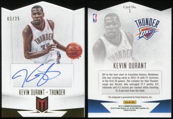 2012/13 Panini Momentum Autographs Force #1 Kevin Durant 3/25