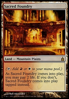 Magic the Gathering Ravnica: City of Guilds Single Sacred Foundry FOIL - SLIGHT PLAY (SP)