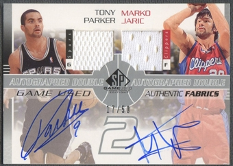 2003/04 SP Game Used #TPMJAJ Tony Parker & Marko Jaric Authentic Fabrics Dual Jersey Auto #17/50