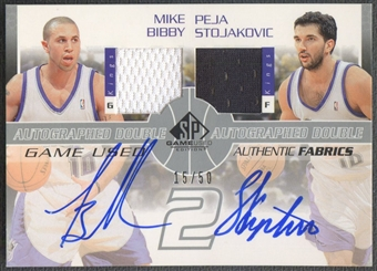 2003/04 SP Game Used #MBPSAJ Mike Bibby & Peja Stojakovic Authentic Fabrics Dual Jersey Auto #15/50