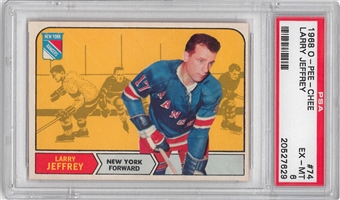 1968/69 O-Pee-Chee Hockey #74 Larry Jeffrey PSA 6 (EX-MT) *7629