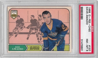 1968/69 O-Pee-Chee Hockey #157 Dave Amadio PSA 8 (NM-MT) *8861