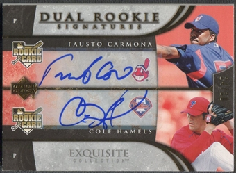 2006 Exquisite Collection #23 Fausto Carmona & Cole Hamels Gold Rookie Auto #24/30