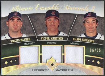 2006 Ultimate Collection #SHM Travis Hafner Victor Martinez Grady Sizemore Ensemble Triple Jersey #06/25