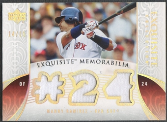 2006 Exquisite Collection #MA3 Manny Ramirez Memorabilia Platinum Jersey #14/15