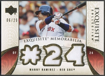 2006 Exquisite Collection #MA3 Manny Ramirez Memorabilia Gold Jersey #06/25