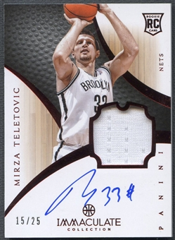 2012/13 Immaculate Collection #181 Mirza Teletovic Rookie Red Patch Auto #15/25