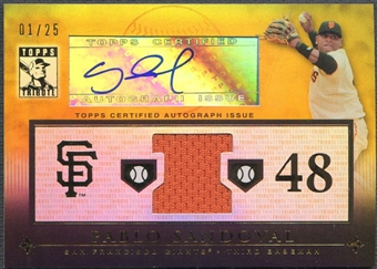 2010 Topps Tribute #PS Pablo Sandoval Gold Jersey Auto #01/25