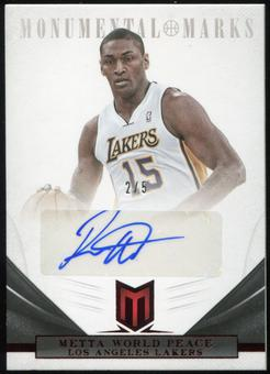 2012/13 Panini Momentum Monumental Marks Red #165 Metta World Peace Autograph 2/5