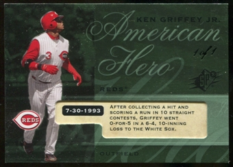 2008 Upper Deck SPx Serial # 1/1 Ken Griffey Jr American Hero