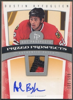 2006/07 Hot Prospects #107 Dustin Byfuglien Rookie Patch Auto #135/599
