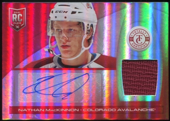 2013-14 Panini Totally Certified Rookie Autograph Jerseys Mirror Platinum Red #229 Nathan MacKinnon 25/25