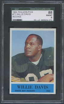 1964 Philadelphia Football #72 Willie Davis Rookie SGC 88 (NM/MT) *4073