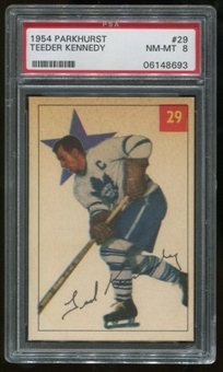 1954/55 Parkhurst #29 Teeder Kennedy Graded PSA 8 (NM-MT) *8693*