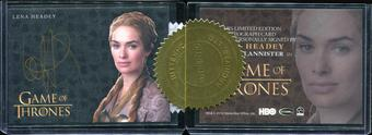 2014 Rittenhouse Game of Thrones Season Three Case Incentive Autographs #1 Lena Headey Queen Cersei Autograph