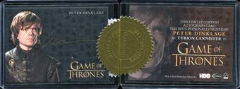 2014 Rittenhouse Game of Thrones Season Three Case Incentive Autographs #3 Peter Dinklage as Tyrion Lannister