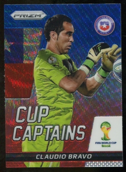 2014 Panini Prizm World Cup Cup Captains Prizms Blue and Red Wave #4 Claudio Bravo
