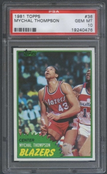 1981/82 Topps Basketball #36 Mychal Thompson PSA 10 (GEM MT) *0476