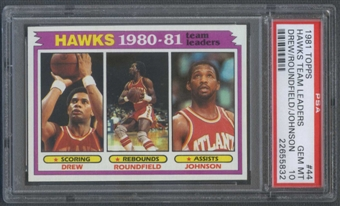 1981/82 Topps Basketball #44 John Drew Dan Roundfield Eddie Johnson Team Leaders PSA 10 (GEM MT) *5832