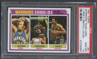 1981/82 Topps Basketball #51 Lloyd Free Larry Smith John Lucas Team Leaders PSA 10 (GEM MT) *2954