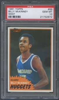 1981/82 Topps Basketball #W69 Billy McKinney Rookie PSA 10 (GEM MT) *2972